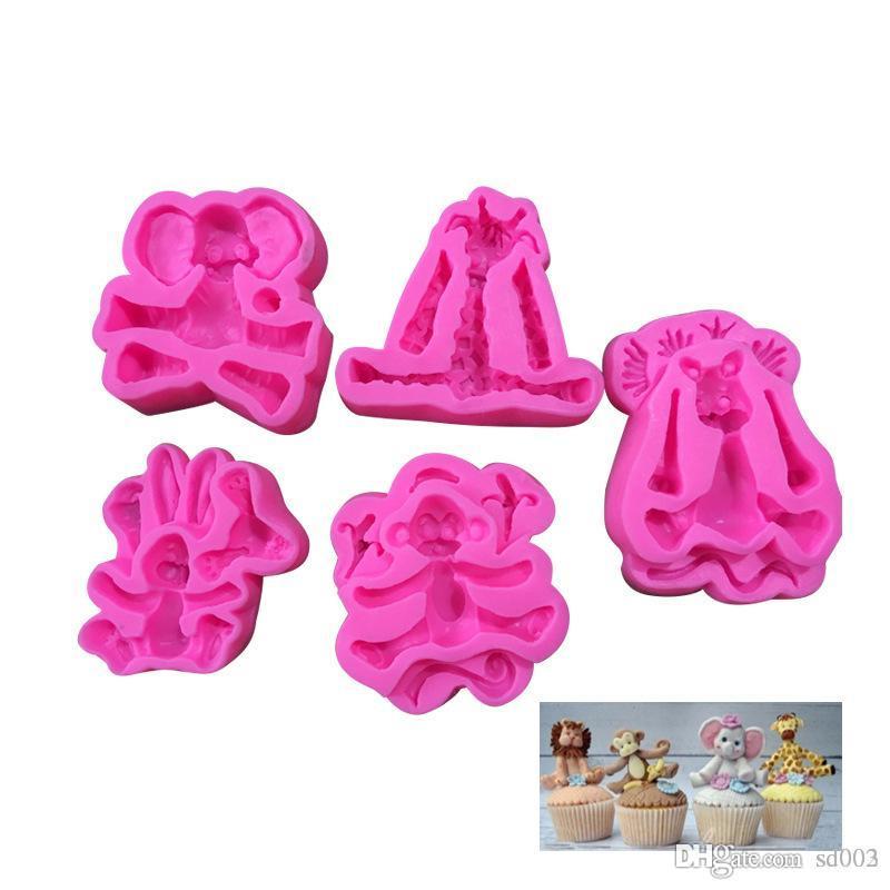 Cartoon Forest Design Mold Food Grade Silicone Candy Stampi Monkey Lion Ribbit Elephant Fai da te Cute Mold Cucina Strumento di cottura 4 8ty ZZ