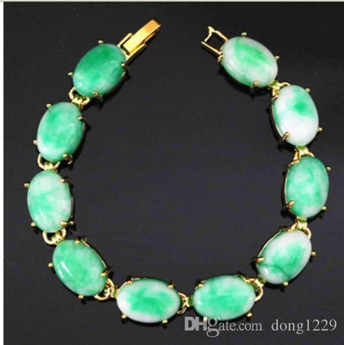 Bracciale a catena color oro naturale verde giada abbastanza grazioso da 7,5 pollici fd
