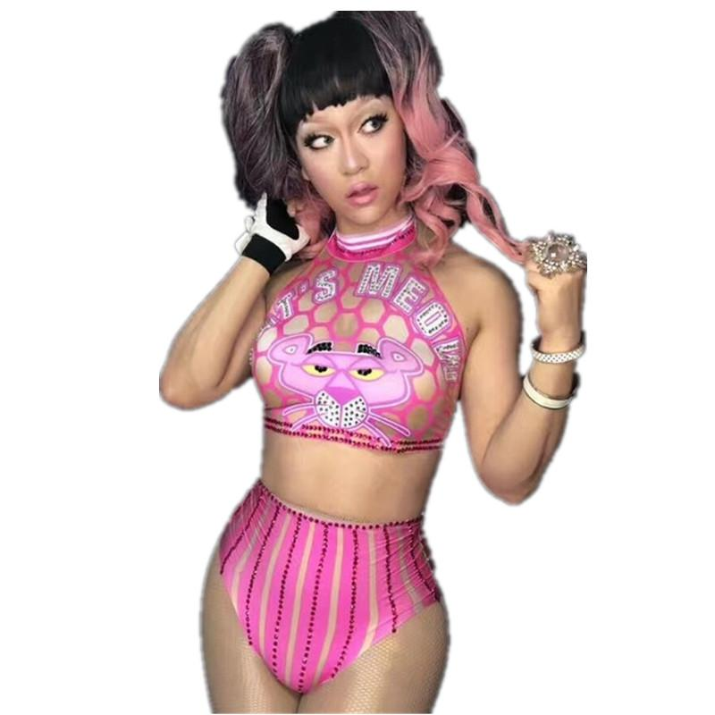 Cute Pink Bikini High Waist Short Set Sexy Women Stage Show Wear Cheerleaders Celebrate Party Dress Costume Game Outfit