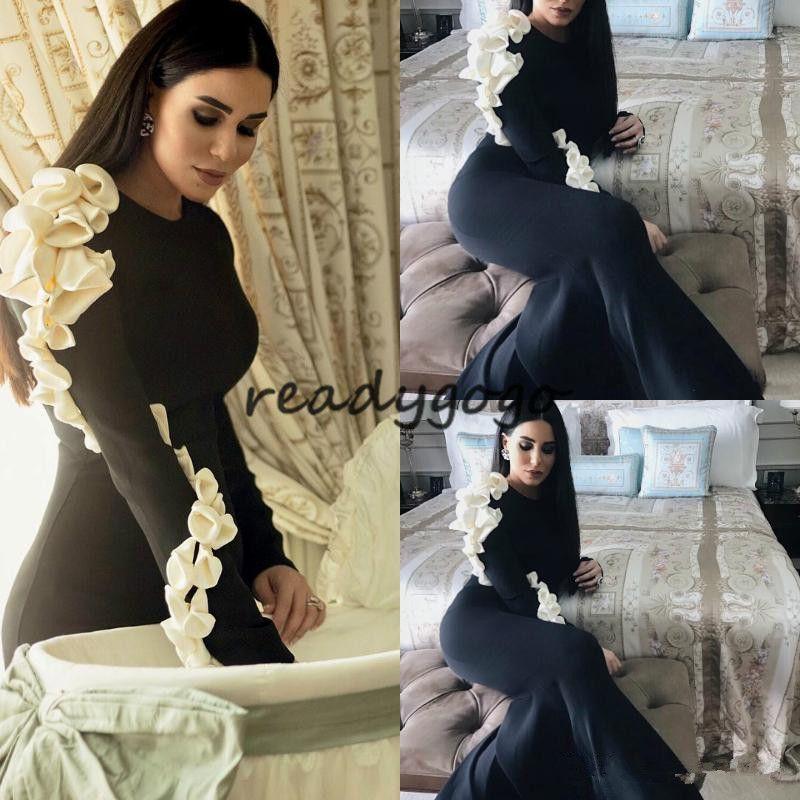 Western Black Arabic Evening Dresses Long Sleeves Elegant Mermaid Jewel neck Turkey Formal Prom Party Gowns With Handmade Flower on Shoulder