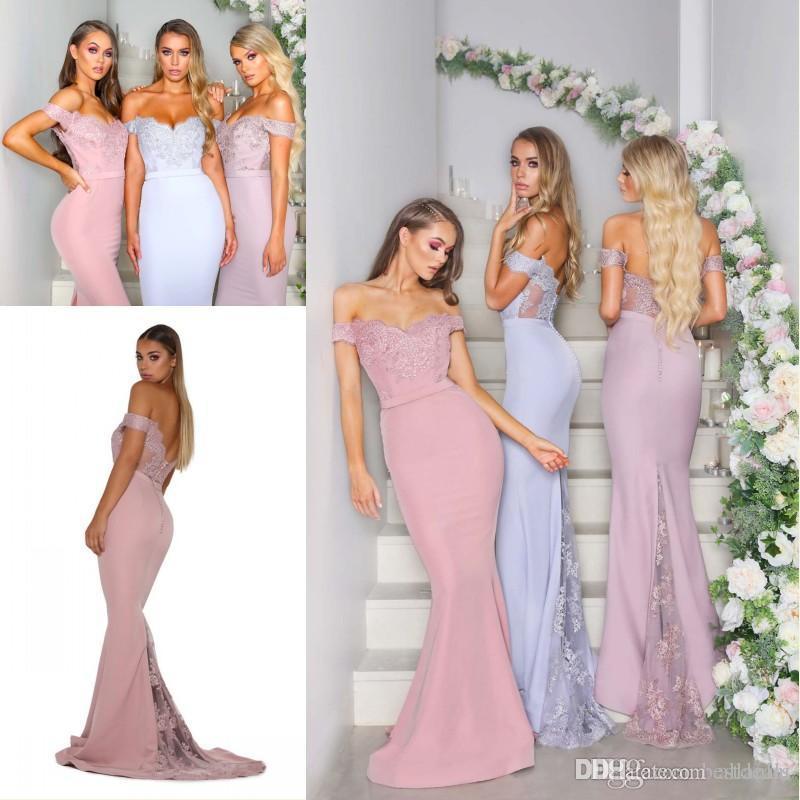 Cheap Purple Blush Pink Mermaid Bridesmaid Dresses Off Shoulder Lace Applique Floor Length Wedding Maid of Honor Dresses robes de demoiselle