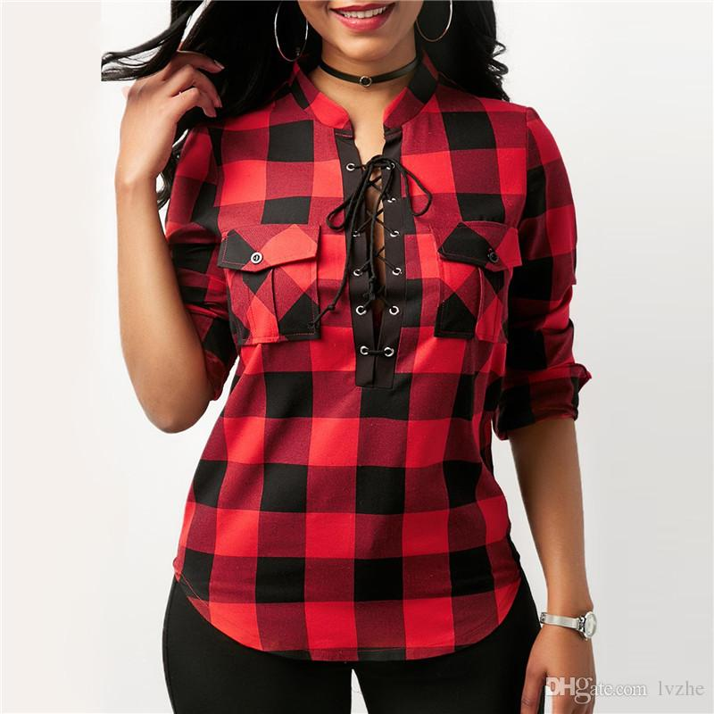 599cb4ebf 2018 New Womens Ladies Casual Long Sleeve Bandage Plaid Check Shirt Tops  Blouse 8 Colors Plus Size