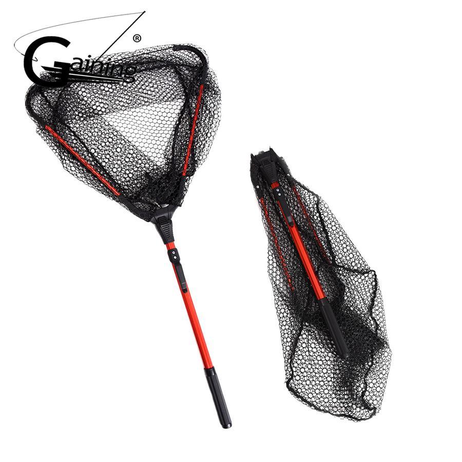 Folding Aluminum Fishing Net Fish Landing Net Foldable Pole Handle Durable Nylon Material Mesh Safe Fish Catching or Releasing