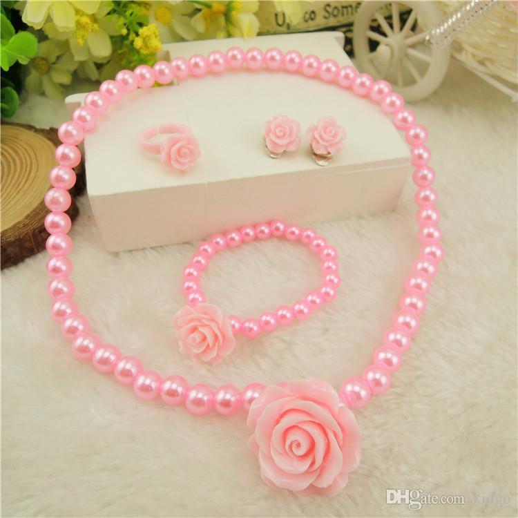 Kids Girls Child Pearl Flower Shape Necklace Bracelet Ring Ear Clips Set Jewelry 1 Necklace + 1 Bracelet + 1 Ring + 2 Ear Clips T0227