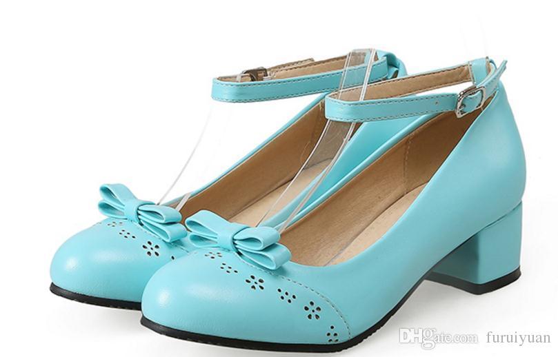 Бесплатно отправить горячий бантом грубый каблук один обувь средний каблук женская обувь большой размер обувь 44 45 46 47 48