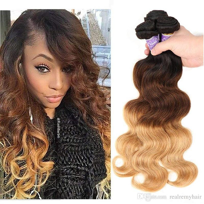 Three Tone Ombre Brazilian Virgin Body Wave Hair Weaves 1B/4/27# Brown Blonde Bundles Wet And Wavy Human Hair Weave Extensions