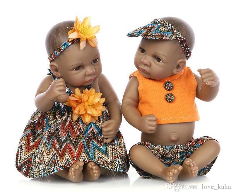10pcs 아프리카 계 미국인 아기 인형 검은 소녀 인형 10.5 인치 전체 실리콘 바디 Bebe 다시 태어난 아기 인형 아이들 선물 장난감 재생 하우스 장난감
