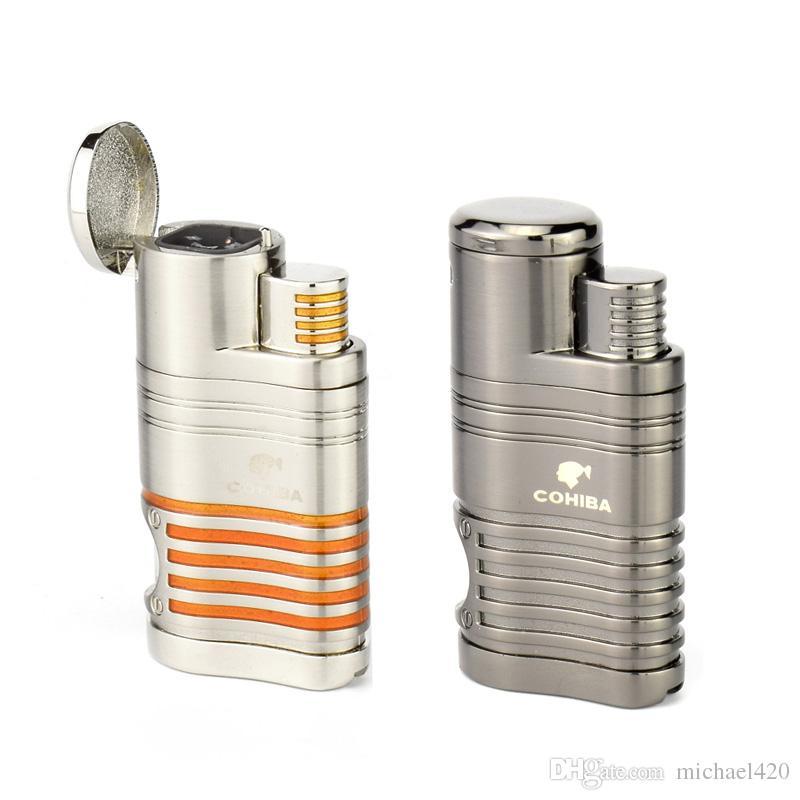 고전적인 디자인과 패션 성을 자랑하는 독특한 디자인 COHIBA Metal 4 TORCH JET FLAME CIGAR CIGARETTE LIGHTER PUNCH GREY