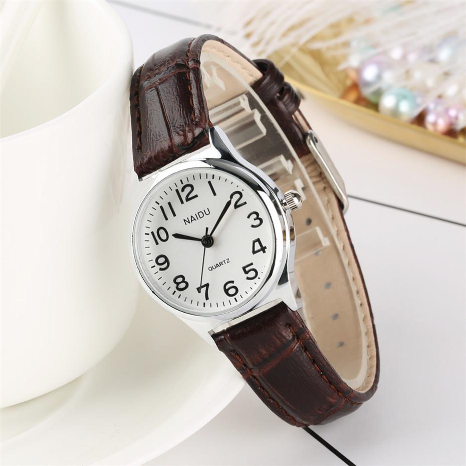 Negro / Marrón / Rojo Reloj para mujer Elegante Pequeño Dial Relojes para mujer Banda de cuero Diseño simple Negocio Mujer Reloj Regalos para niña