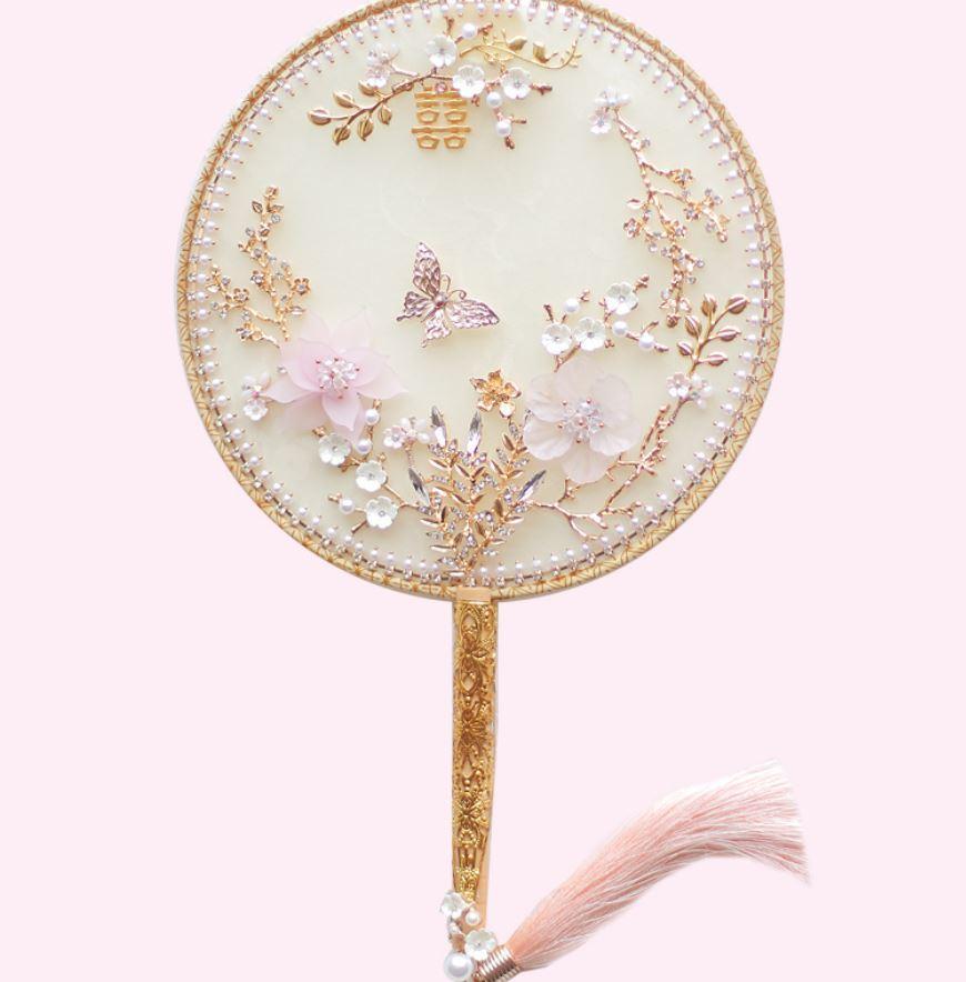 Özel Çince Pembe Altın hayran Düğün Buket Güzel Zarif Gelin Buketi