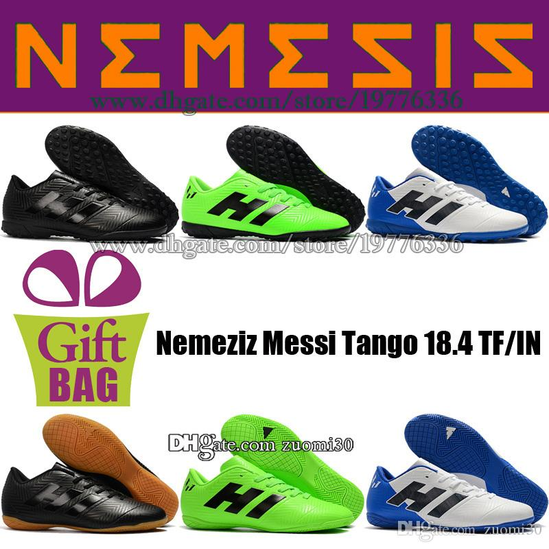 Original Indoor Soccer Shoes Football Boot Nemeziz Messi Tango 18.4 IN TF Soccer Cleats Turf Leather Football Shoes For Messi Size 6.5-11.5