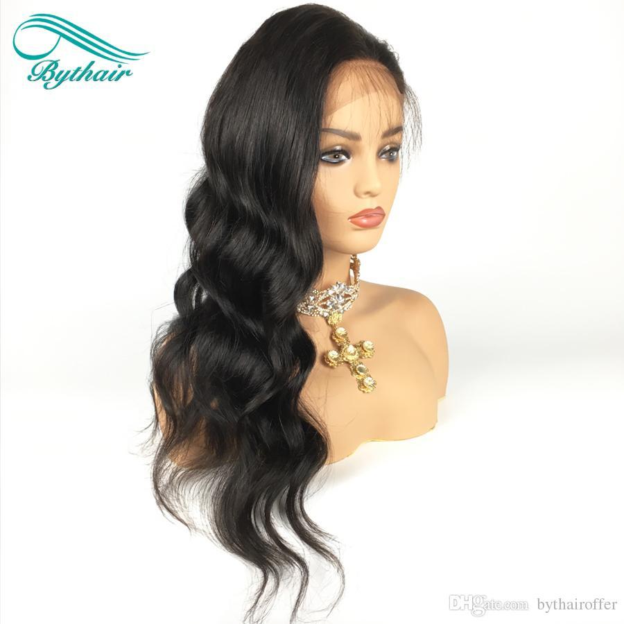 Bythair Hohe 180% Dichte Reine Brasilianische Menschenhaarperücken Volle Spitzeperücke Wellenförmiges Haar 100% Menschenhaar Glueless Wellenförmige Spitzefrontseitenperücke