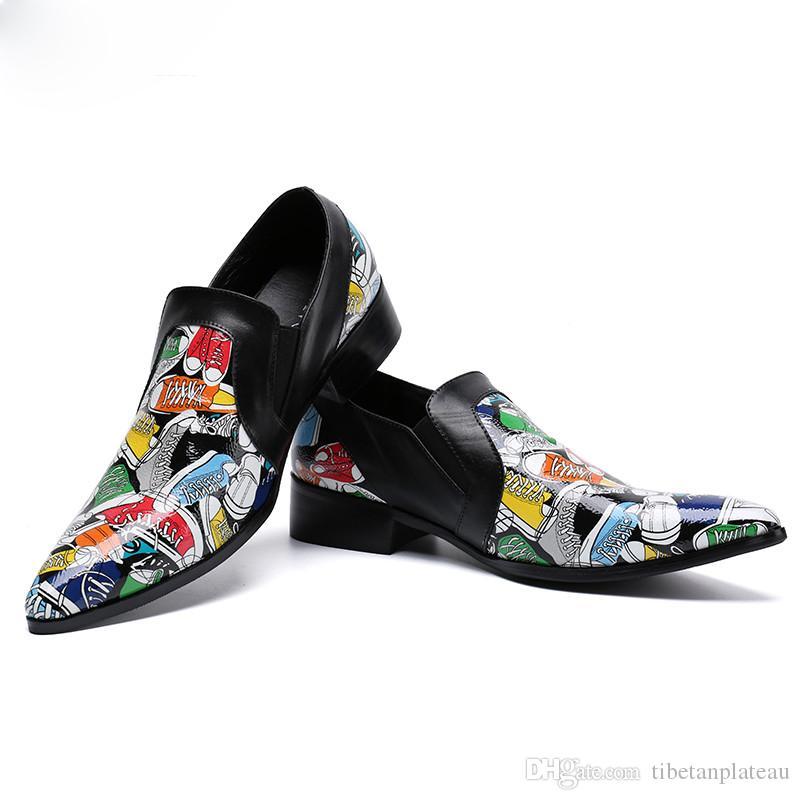 Christia Bella Mode Pantoufles Chaussures D'été D'impression Hommes Chaussures Habillées En Cuir Véritable Slip Sur Casual Chaussures Discothèque Mocassins