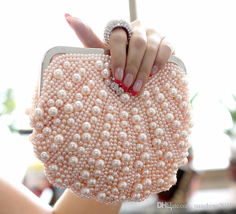 OUCEICE Finger Ring Fashion Metal Small Purse Bag Water Rhinestones Party Wedding Evening Bag Heart Beaded Women Bag