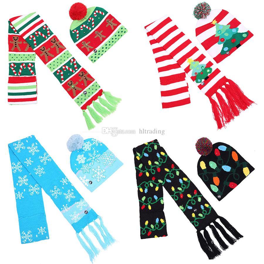 Christmas scarf+Hats set knitting Santa LED hat 2019 Warm winter adults children Xmas tree snowflake Muffler cap Christmas Supplies C521