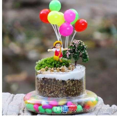 Миниатюры куклы Главная сад декор моделирование красочные воздушные шары пластиковые микро пейзаж сад украшения Рождественский подарок