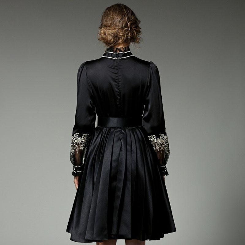 Alta calidad de la marca 2017 mujeres runway dress primavera vestidos de moda manga larga más el tamaño del bordado casual plisado dress negro