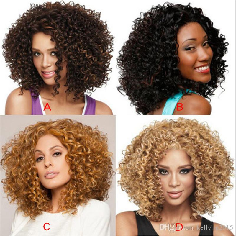 Afro Kinky Short Curly Hair Wig Women Black Brown Wigs Simulation Human Full Synthetic Lace Short Hair Wigs Equal Wig Front Wig From Kellylin2015 16 27 Dhgate Com