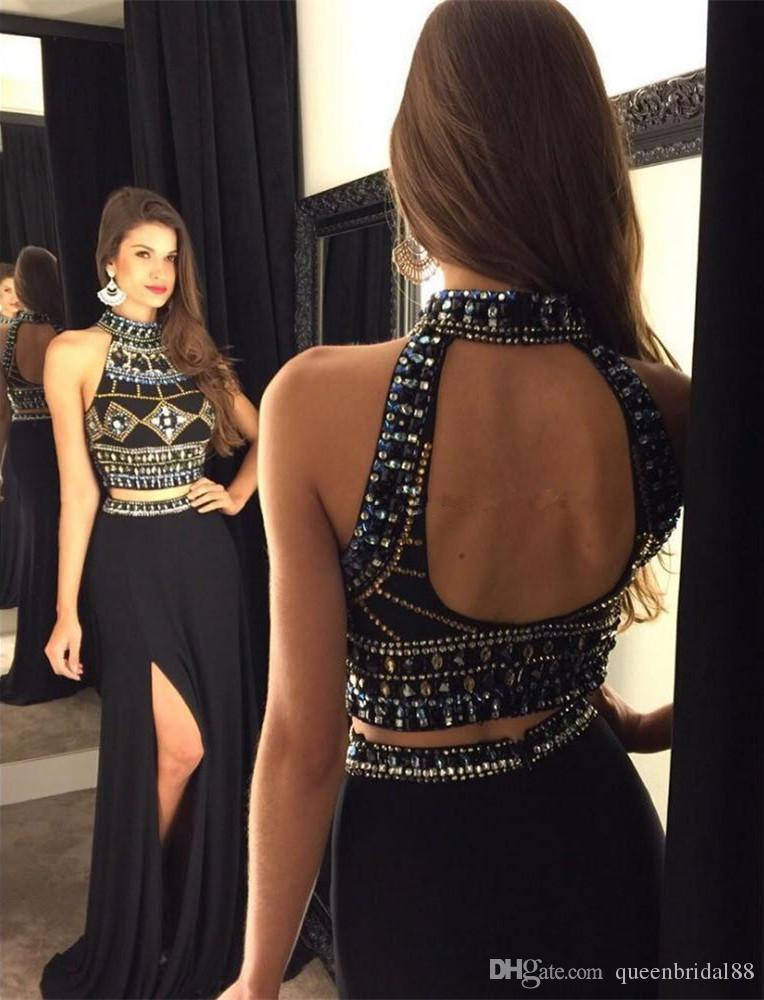 Sexy Backless Two Pieces Prom Dresses with Beaded High Collar Side Split Long Mermaid Evening Party Gowns
