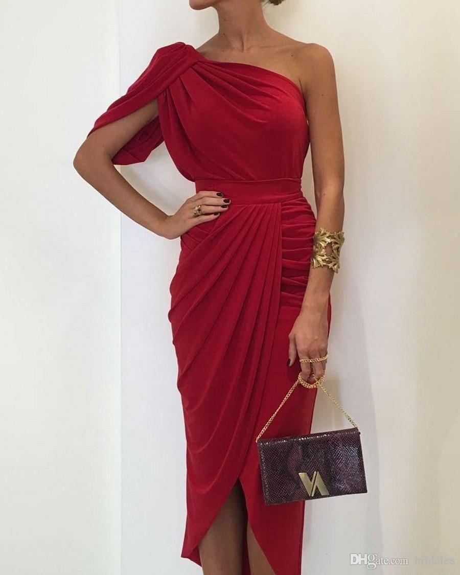 Neue Design Mantel One Shoulder Tee Länge Abendkleider 2019 Plissee Jersey Formale Party Kleider für elegante Damen Roben de Soirée