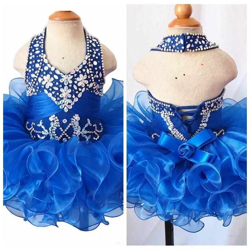 2019 Halter Pageant Cupcake Dress For Baby Girls Beaded Rhinestone Beaded Mini Gown Toddler Princess Ruffles Tutu Dress Infant Girls