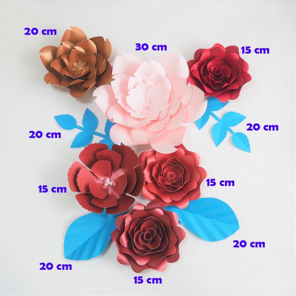DIY Fleurs Artificielles Fleurs Artificielles Toile de Fond Géant Papier Rose 6 PCS + 4 Feuilles Pour La Fête De Mariage Décoration Bébé Douche Supplie