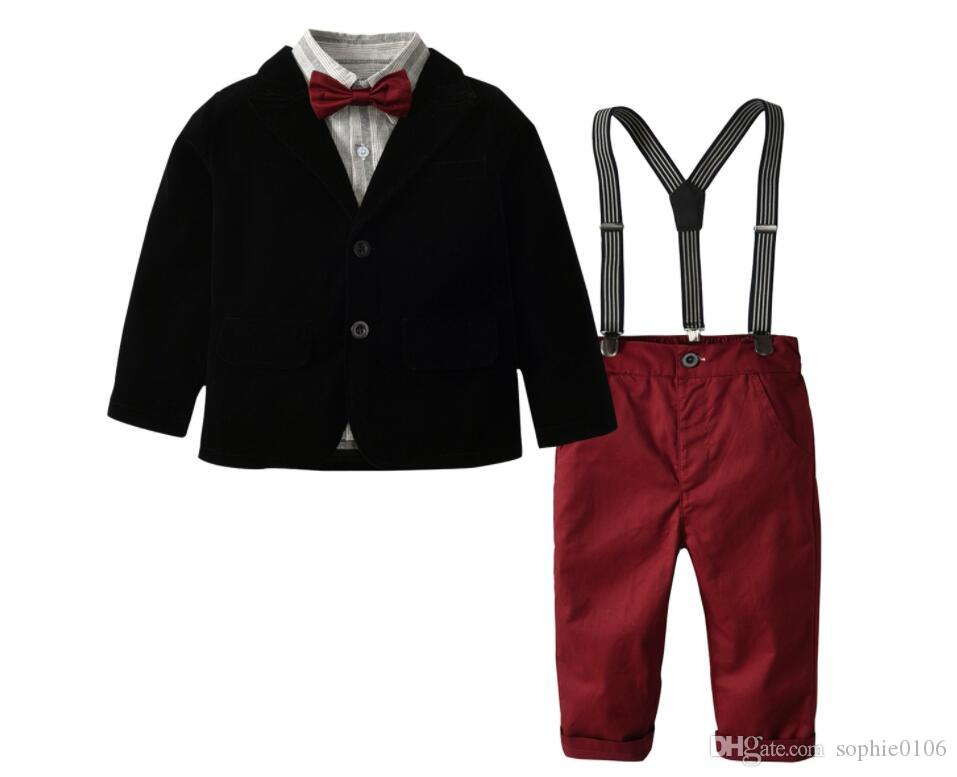 ملابس صبي النمط الغربي + تي شيرت وسروال + الحمالات + القوس التعادل مجموعة الحمالات بدلة طفل الربيع والخريف الأطفال بدلة خمس قطع XAM 008