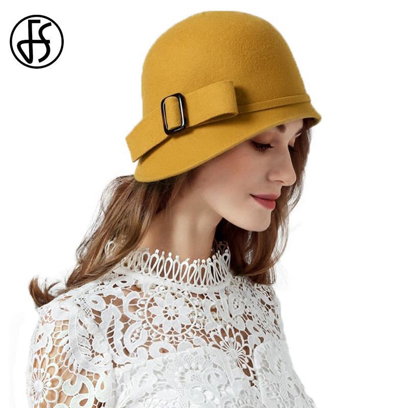 FS Vintage Black Frauen Wollfilz Cloche Hut Wide Brim Bowler Winter Fedoras Damen Gelb Blau Floppy Hüte Bowknot Cap