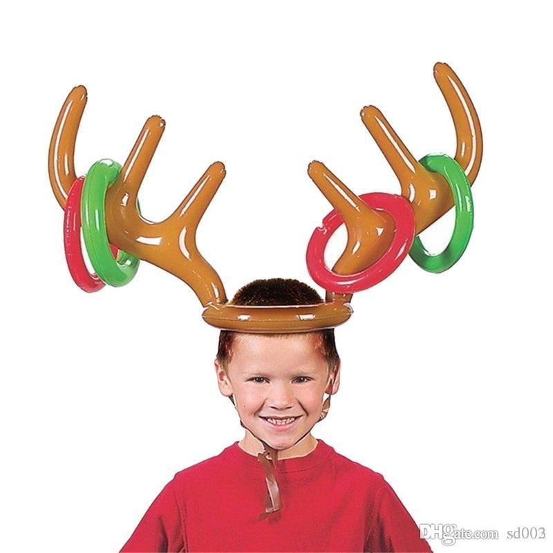 Dessin animé Inflation Cap Renne Antler Chapeau Pour Enfants De Noël Thème Décorations De Fête Cadeau Belle Forme Survêtement Chapeau Jouet 5 94zb ZZ
