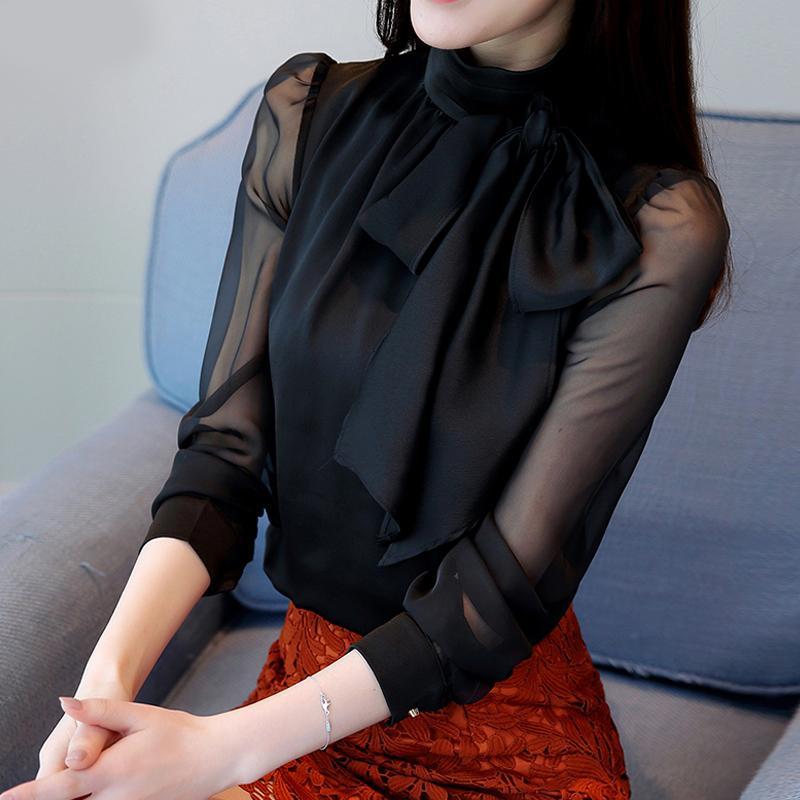 قمم قميص الربيع طويل شفاف كم القوس التعادل طوق الشيفون الأسود البلوزات المرأة القوس التعادل الأبيض الشيفون البلوزات