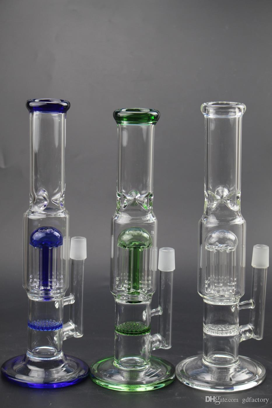 2019 New Glass Bong Tubi d'acqua quarzo banger bowl Honeycomb Perc Bongs Heady Pipe wax Oil Rigs bubbler 144
