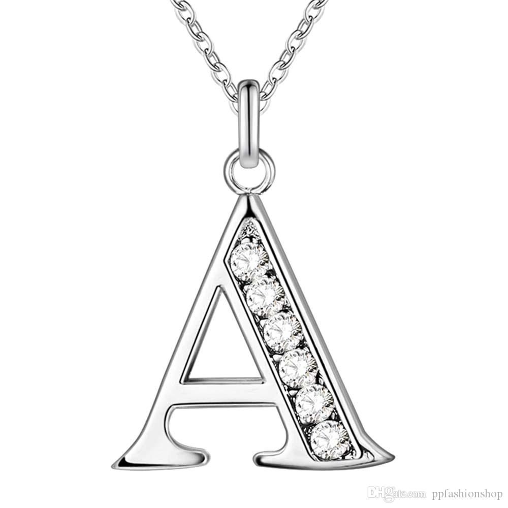 HOT Letter A-Z Free Shipping silver plated Necklace, Stamp 925 fashion silver jewelry Fashion Pendant /XYLQNNAG XYLQNNAG