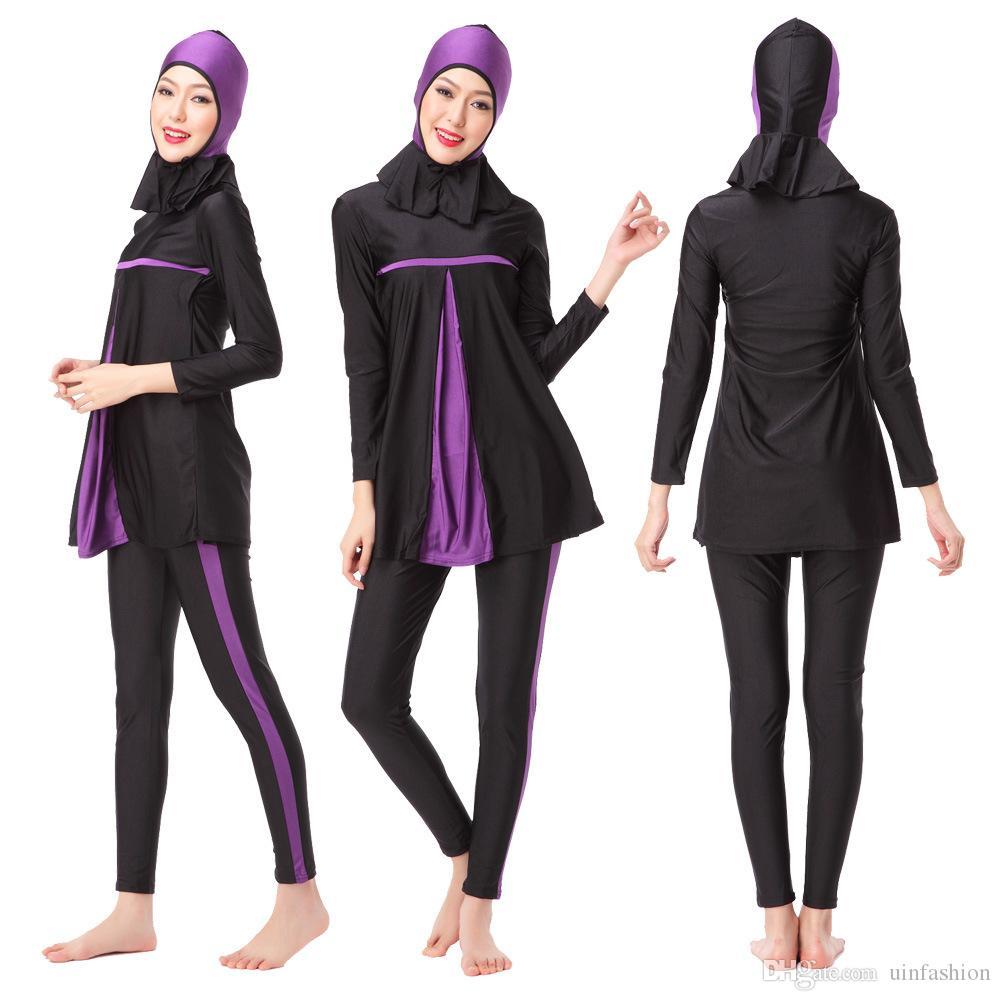 Stroje kąpielowe Kobiety Pływanie Ubrania Nowe Muzułmańskie Panie Długi Rękaw Swimsuit Islamski Pełny Pokrywa Konserwatywne Garnitury Kąpielowe