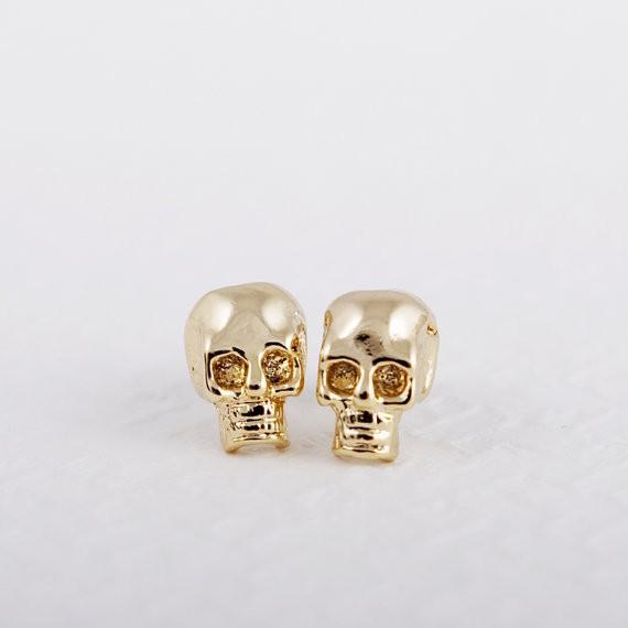 أزياء أقراط الذهب SKULL رومانسية أقراط سبائك الزنك أقراط الذهب اللون للنساء بالجملة