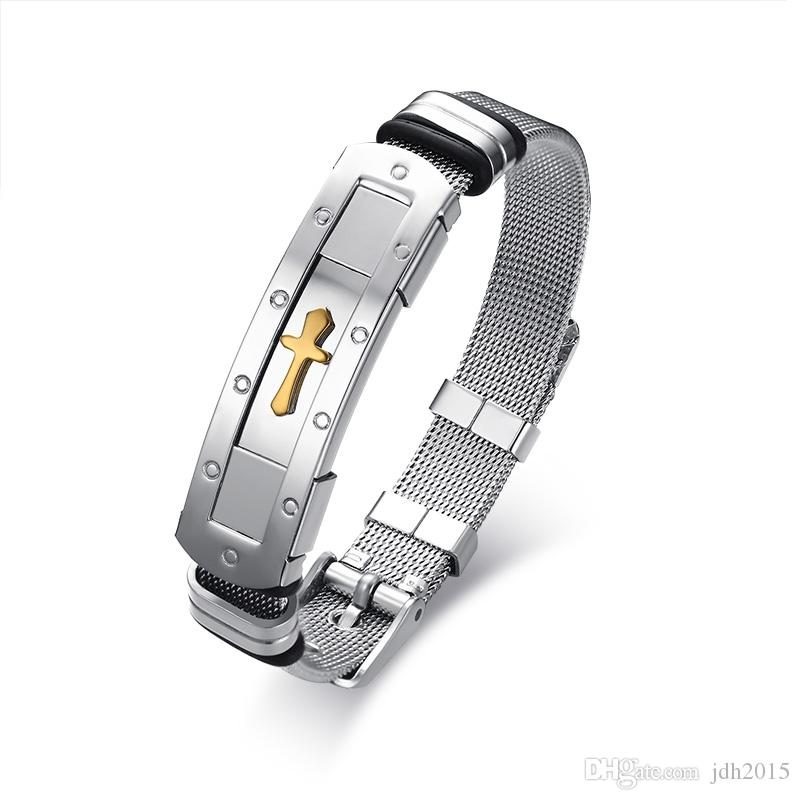 Masculine Stainless Steel Cross Mesh Strap Band Bracelet Bangle