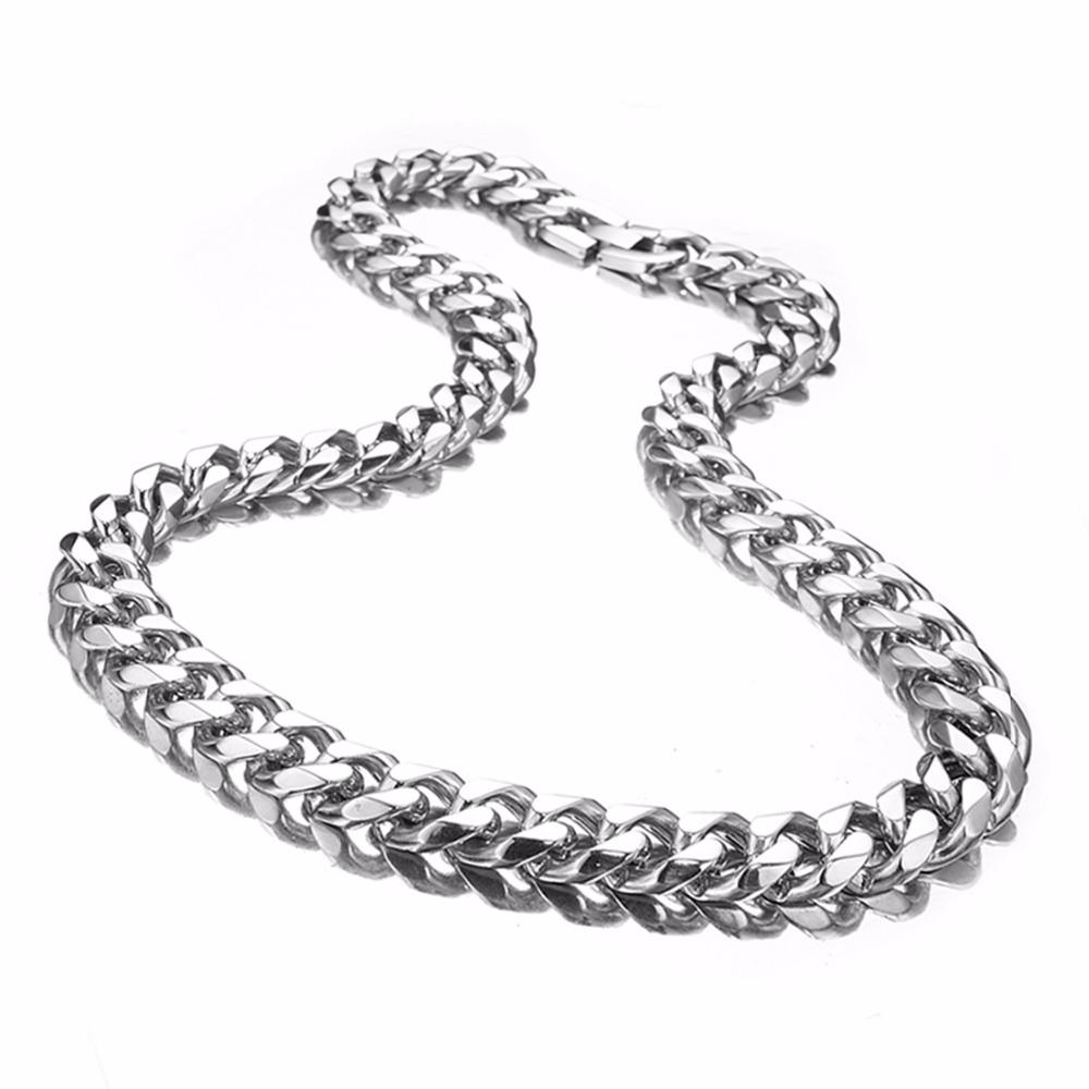 """Granny Chic Boy's Men's Stainless Steel Cuban Link Chain Necklace Silver Color Steel Curb Necklace For Men 7-40"""" 15mm Jewelry"""