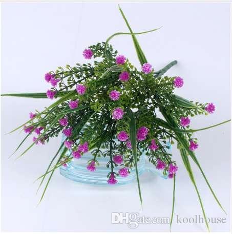Vivid P.tenuiflora plantas de hierba verde flor artificial babysbreath simulación flor decoración de la boda para la oficina del partido en casa