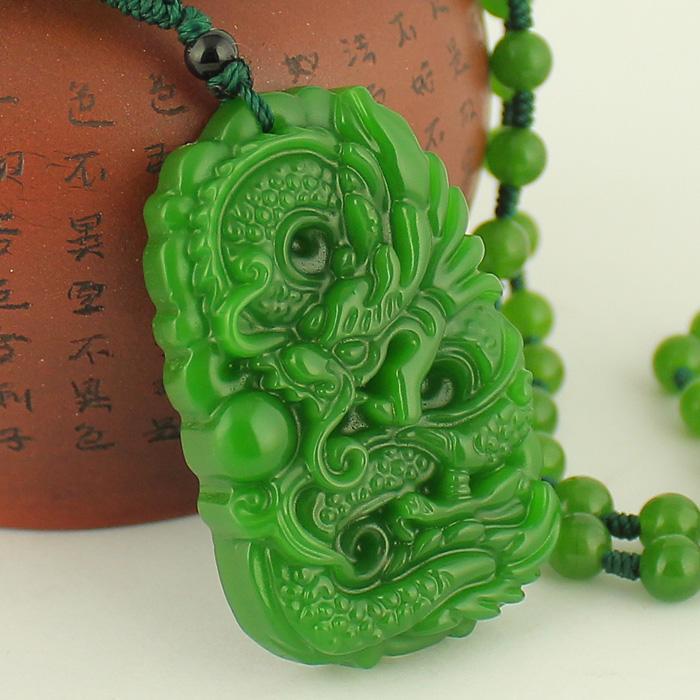 Природный Синьцзян Хотан Зеленый мужской и Longteng Shengshi Baoping Аня Подвеска Женской