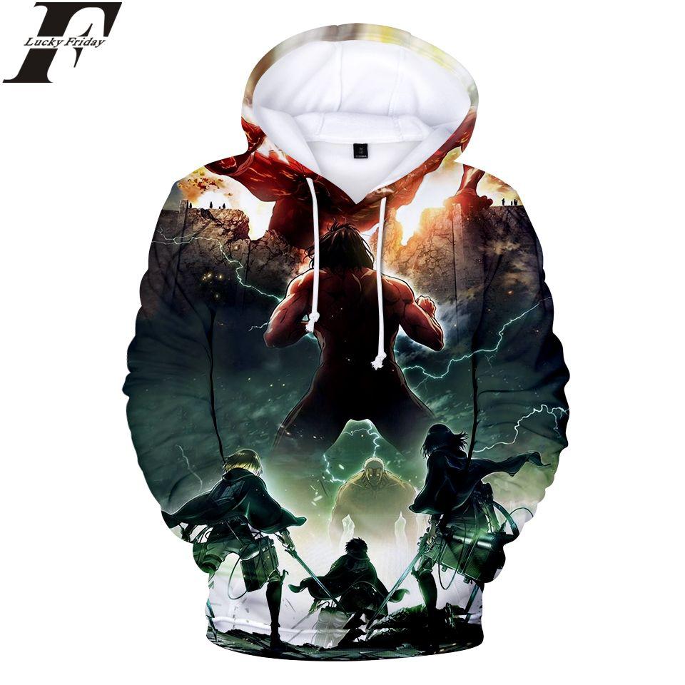 Attack on Titan 3D cotton Hoodies Sweatshirt 2018 Anime Women/Men Regular streetwear With Cap Clothes Plus Size