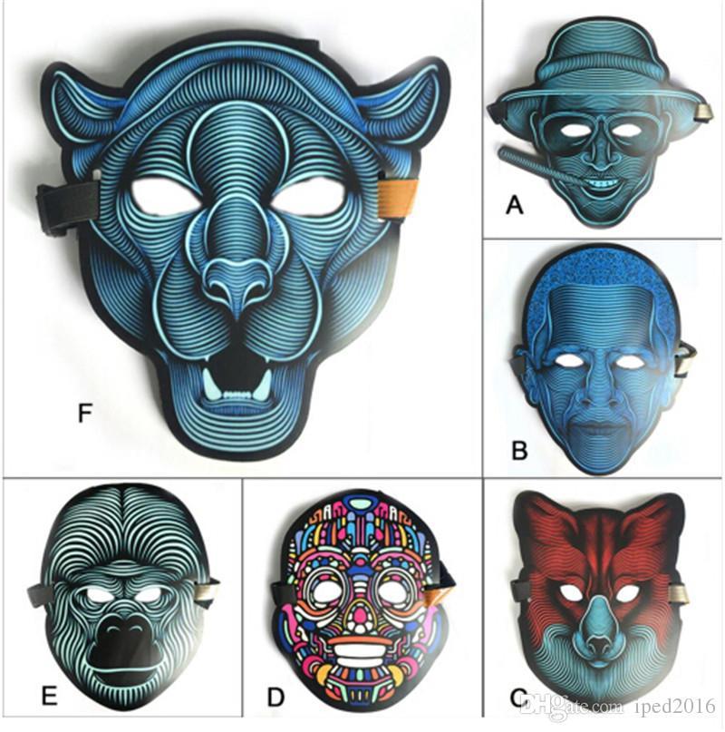 LED Masken Bekleidung Big Terror Masken Kaltlicht Helm Feuerfest Party Glowing Dance Stetige Sprachaktivierte Musikmaske