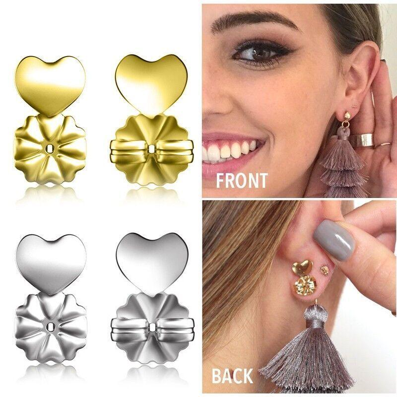 Pair Sterling Silver Extra Support Butterfly Backs to Hold Heavy Stud Earrings