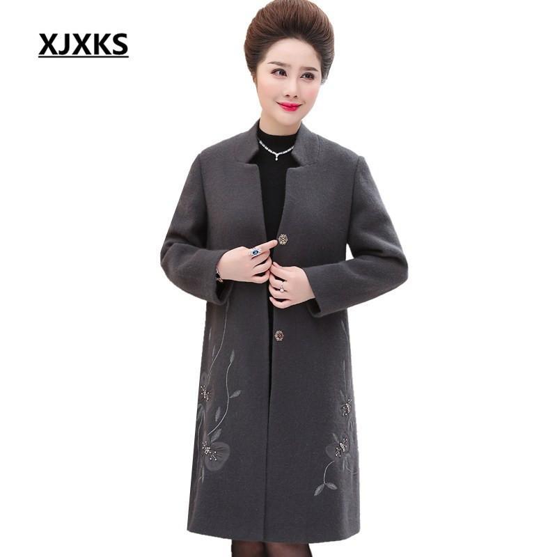 ingrosso nuovo autunno inverno madre abbigliamento addensare cappotto caldo outwear di fascia alta unico appliques perline donne cappotto di lana