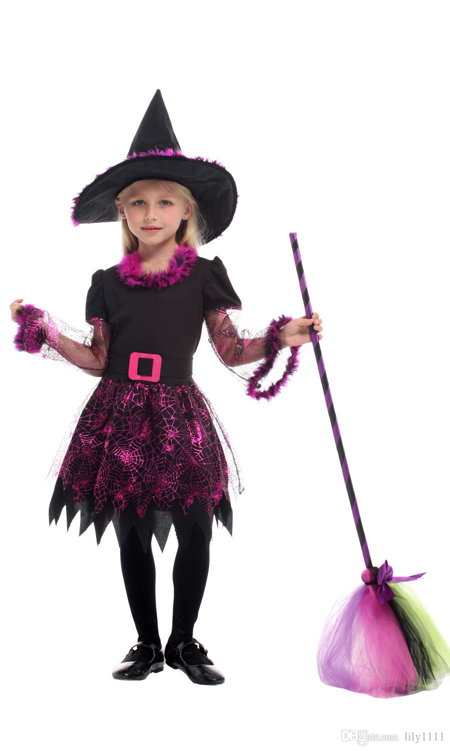 Shanghai Story 2019 Girls's Witch Costumes for Kids Girls Halloween Christmas Carnival Masquerade Children Magician Wizard Cosplay Dress