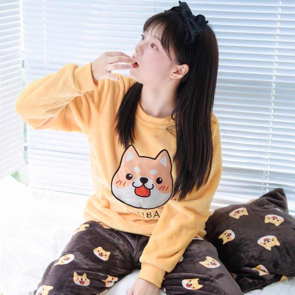 양털 두꺼운 잠옷 2018 플러스 크기 M-5XL 귀여운 Shiba Inu Appliques 인쇄 개 3 조각 파자마 탄성 허리 잠옷 S81905 세트
