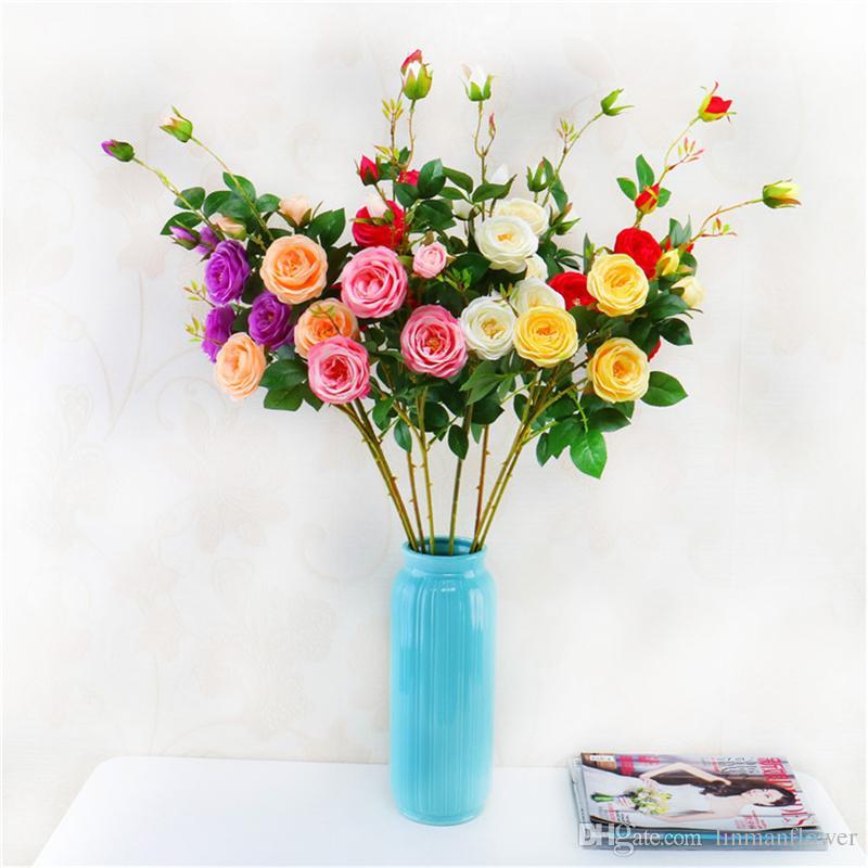 جديد الزهور الاصطناعية الحرير الشاي الورود باقة لحفل زفاف تزيين المنزل روز عيد الميلاد السنة الجديدة وهمية النباتات فلوريس الاصطناعي
