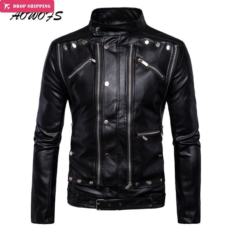 AOWOFS Luxury Leather Jackets Men Multi Zippers Rivets Punk Leather Motorcycle Jackets Mandarin Collar 2017 Fashion Clothing 5XL
