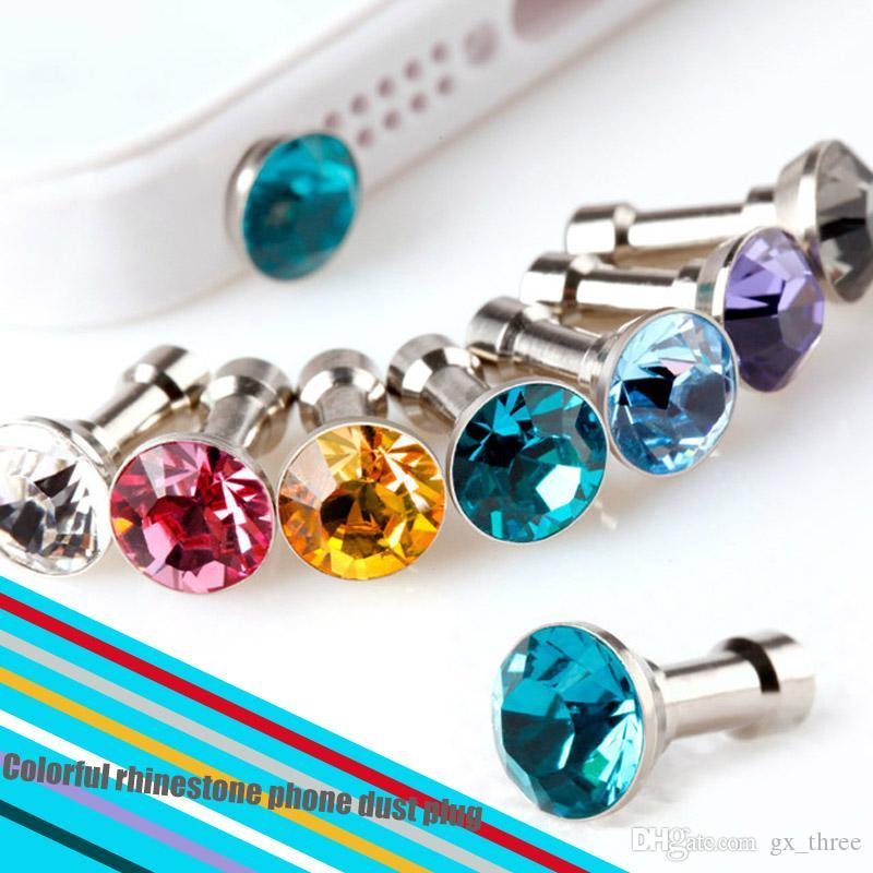 Beautiful Crystal Diamond Anti Dust Plug Headphone Dustproof Plugs Stopper Cap Gadgets Mobile Phone Accessory Rhinestone 3.5mm Earphone Jack