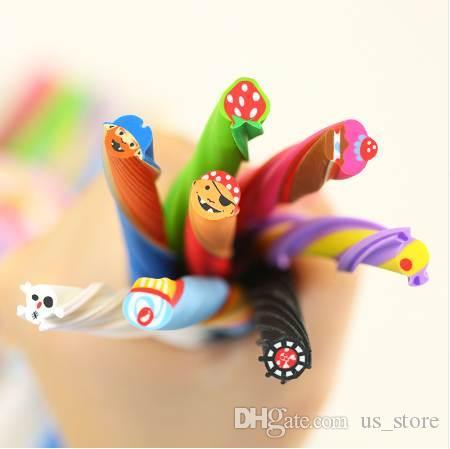4PCS Cute Long Color Fruit Rubber Kawaii Pencil Eraser Cartoon Borracha Cut into Pieces Correction School Supplies Stationery