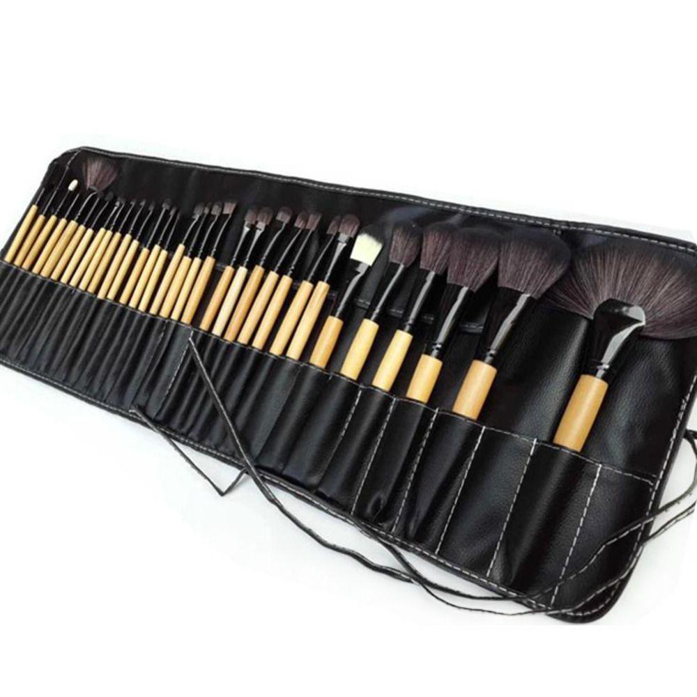 Förderung 32 STÜCKE Pro Make-Up Kosmetik Pinsel Holzbürsten Kit Pinsel Set In Pouch Case TF