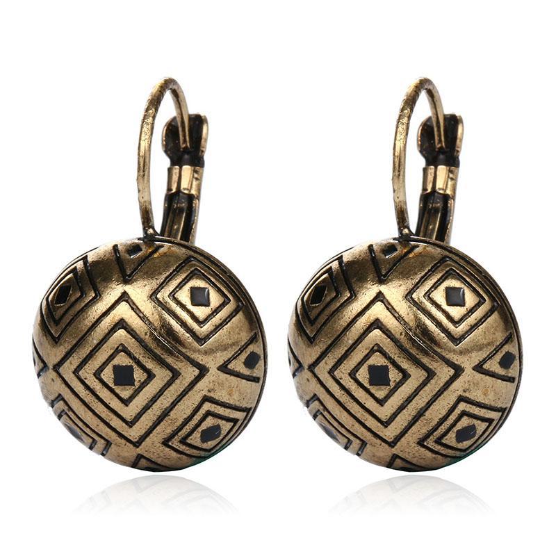 New Vintage Bohemian argento antico color oro intaglio orecchini gioielli moda orecchini per le donne Pendientes Mujer Moda